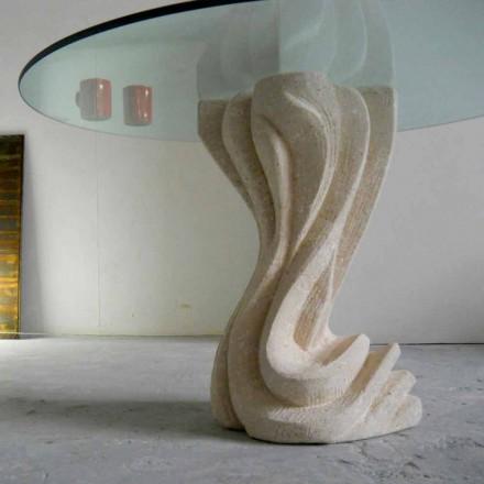 Ronde eettafel in steen met glasplaat Cadmus