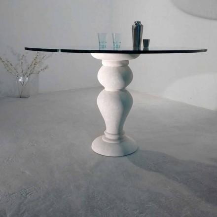 ronde eettafel in steen en kristal Oedipus, klassiek design