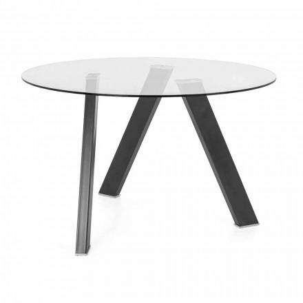 Ronde eettafel diameter 120 cm in design van glas en metaal - Tonto