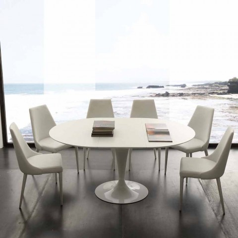 Design Ronde Tafel.Ronde Eettafel Uitschuifbaar Tot 170 Cm Topeka Modern Design