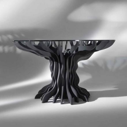 Cassia ronde eettafel, piano zwart hout en glas top