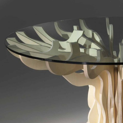 Ronde eetkamer houten tafel met gehard glas top Dalia