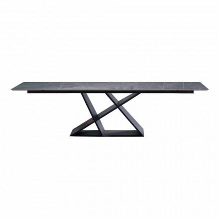 Luxe uitschuifbare tafel tot 294 cm met steengoed blad Made in Italy - Cirio