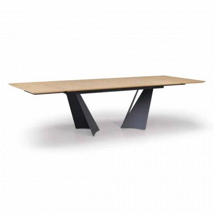 Uitschuifbare designtafel tot 294 cm in hout en metaal Made in Italy - Nuzzo