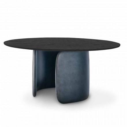 Designtafel met rond blad in massief hout Made in Italy - Mellow Bonaldo