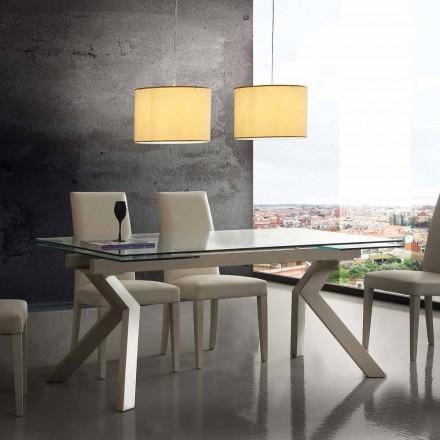 Design tafel uitschuifbaar metaal en gehard glas Mesa
