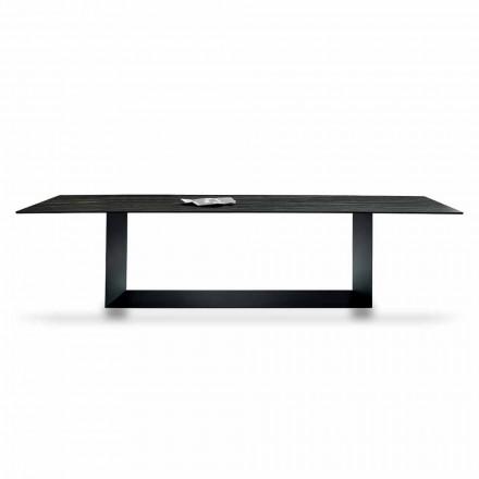 Designtafel in Matt Noir Desir keramiek en metaal gemaakt in Italië - donkerbruin