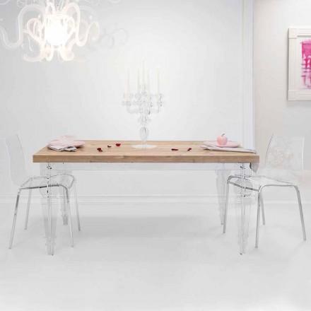 Designtafel gemaakt van dennenhout en plexiglas gemaakt in Italië, Castro