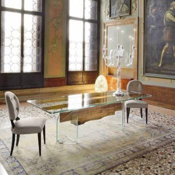 dolfijnen Designer houten tafel en Venetië Venetiaans glas