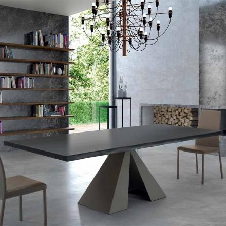 Designtafel in gefineerd hout en staal Made in Italy - Dalmata