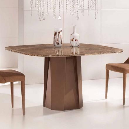 Design tafel in Emperador donker marmer 130x130 cm, gemaakt in Italië - Nuvolento
