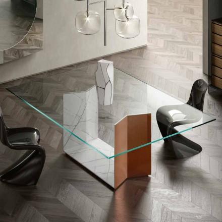 Tafel van metaal en marmer met luxe glazen blad Made in Italy - Minera