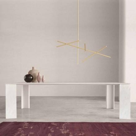 Design tafel in Namibië, wit marmer, gemaakt in Italië, 210x110 cm - Monastero