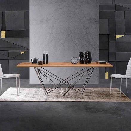 Moderne designtafel met houten blad en metalen voet, Esperia