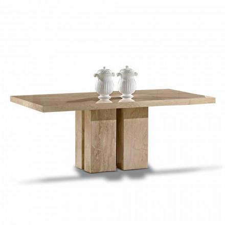 Luxe tafel met modern design, Top in Daino-marmer Made in Italy - Zarino
