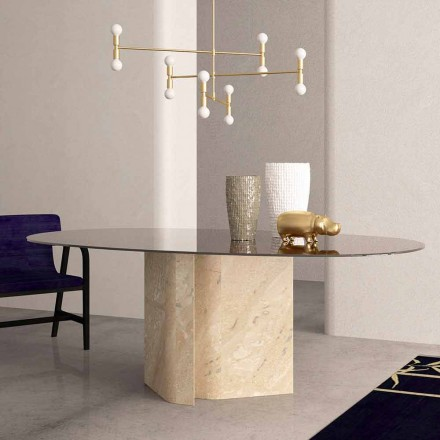 Elliptische tafel in kristal en beige koraalmarmer Made in Italy - Noccia