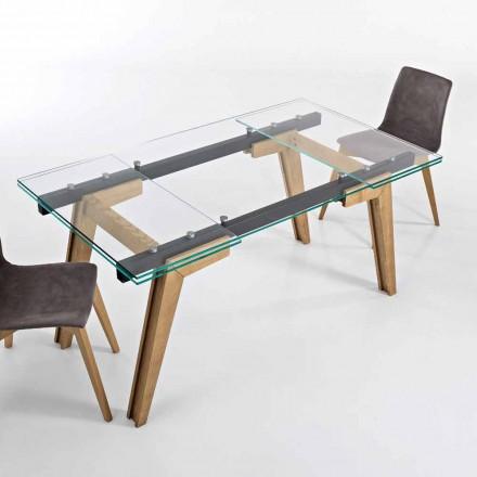 Uitschuifbare tafel in glas en massief hout gemaakt in Italië, Dimitri