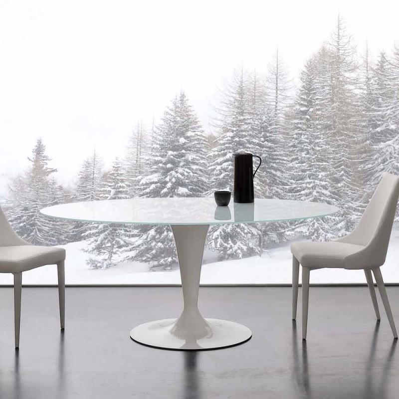 elliptische vaste tafel in extra-wit gehard glas en staal Aurora