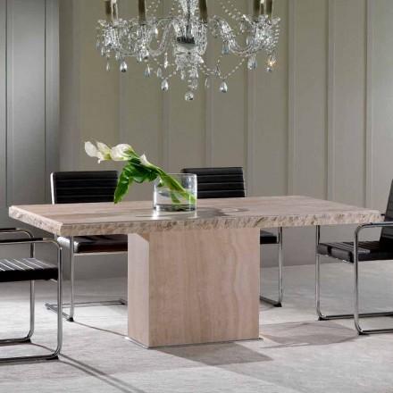 Eettafel gemaakt van travertijn steen, modern design, Narciso