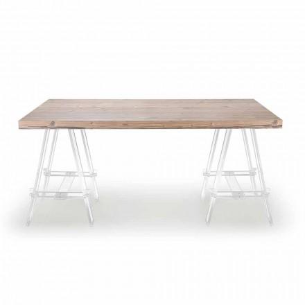 Houten tafel met schragen in plexiglas Made in Italy - ezel