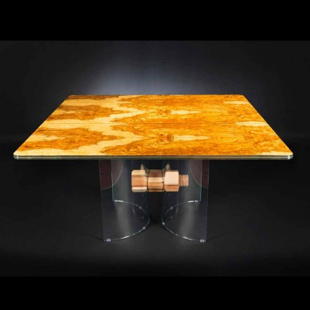 in olijf houten lijst en glas Portofino vierkante vorm