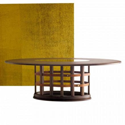 Grilli Harris moderne elliptische massief houten tafel gemaakt in Italië