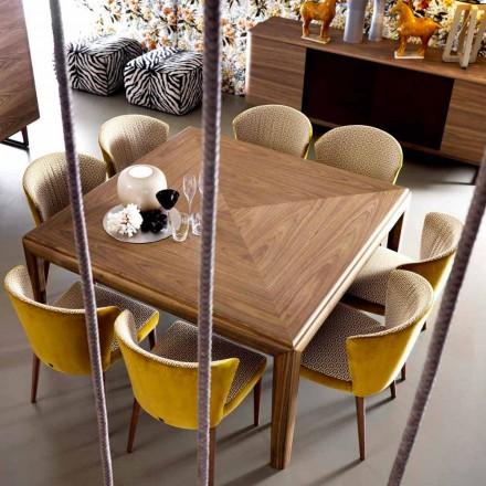 Grilli York vierkante moderne massief houten tafel gemaakt in Italië