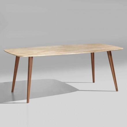 Hoogwaardige moderne tafel in marmer- en notenhout Made in Italy - Hercules