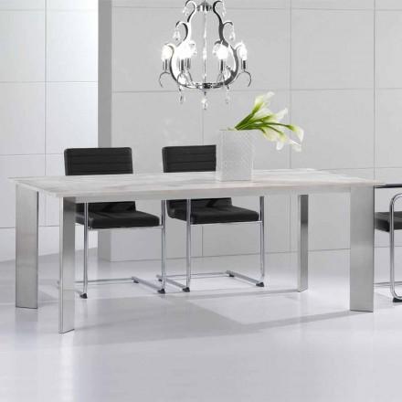 Eettafel gemaakt van travertijn steen, modern design, Pompilio