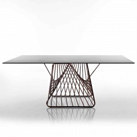 Moderne designtafel van gehard glas gemaakt in Italië, Mitia