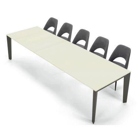 Uitschuifbare moderne tafel 16 stoelen in gelamineerde Fenix Made in Italy - Settanta