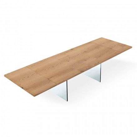 Uitschuifbare moderne tafel tot 300 cm in gelaagd en glas Made in Italy - Strappo