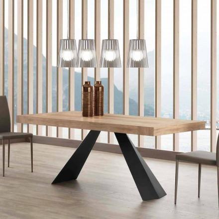 Moderne uitschuifbare tafel tot 260/280 cm in hout en metaal - Teramo