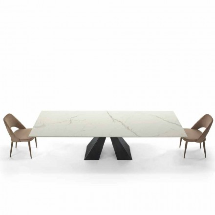 Moderne uitschuifbare tafel tot 300 cm in marmer Made in Italy - Dalmata