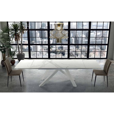 Moderne uitschuifbare tafel tot 300 cm in marmer Made in Italy - Settimmio