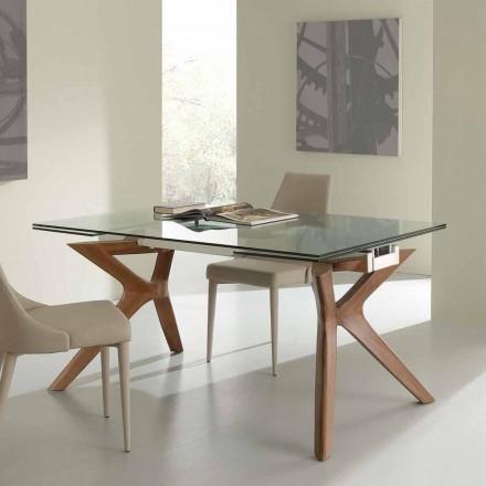 Moderne tafel Extendable roestvrij staal en gehard glas Kentucky