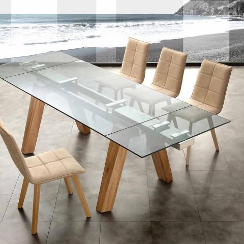 Moderne Eettafel Hout.Moderne Eettafel In Glas En Natuurlijk Hout Florida