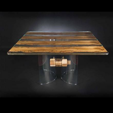 Modern in Venetiaans glas en houten tafel Briccola
