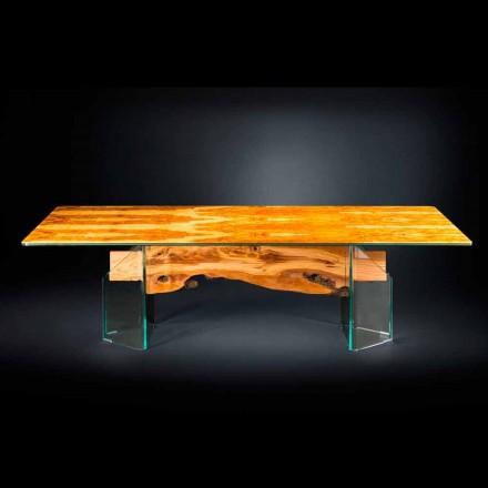 Moderne olijf houten lijst, rechthoekige glazen Portofino