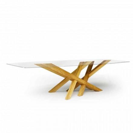 Moderne tafel in glas en natuurlijk eiken geproduceerd in Acciano, Italië