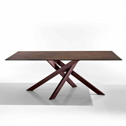Moderne tafel in glaskeramische kookplaat en metaal gemaakt in Italië, Dionigi