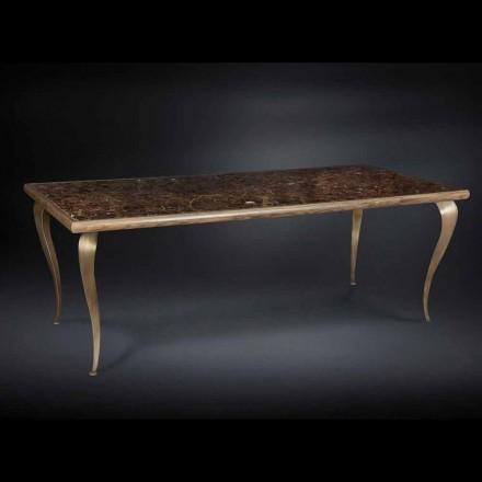 Tabel neo-klassiek met massief houten structuur en een marmeren blad Adam
