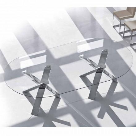 Ovale designtafel in kristal 220x120cm gemaakt in Italy Tree