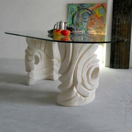 ovale stenen tafel met modern design kristal Furies