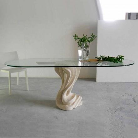 ovale stenen tafel met glazen top modern design Agave