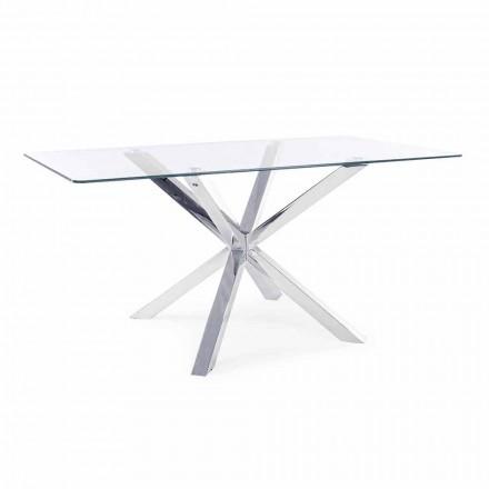 Homemotion Eetkamertafel met blad van gehard glas - Denda
