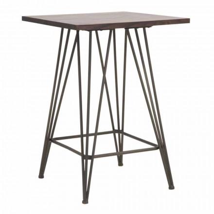 Industriële hoge vierkante tafel in ijzer en hout - Helle
