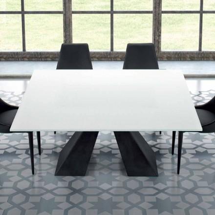 Vierkante tafel in gehard Extrawhite glas en staal Gemaakt in Italië - Dalmata