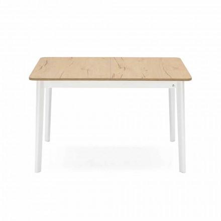 Rechthoekige uitschuifbare tafel tot 170 cm in hout Made in Italy - Dine