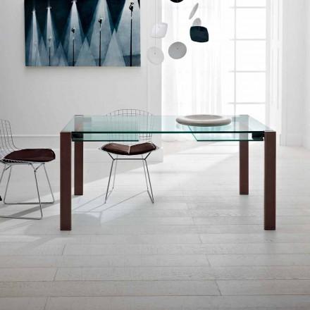 Uitschuifbare tafel tot 280 cm in transparant glas gemaakt in Italië - Sopot